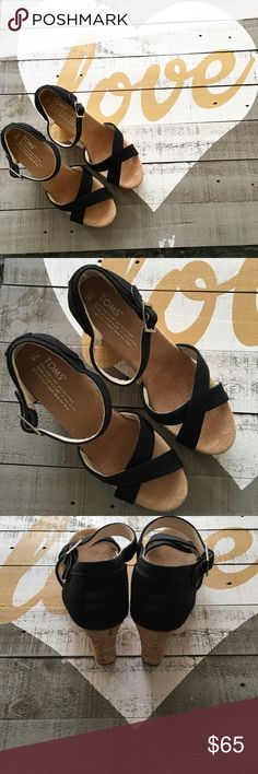 TOMS Black Strap Cork Wedges Like New condition. Please no trades. Shoes Wedges