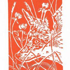 Fox Art - Print titled Fox in Clover - Original Hand Pulled Linocut Print