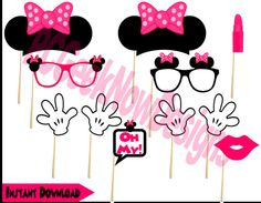 Minnie Mouse Photo Booth Props Pink Minnie by PCGeekNowDesigns