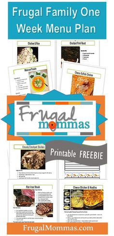 Frugal Family Meal Plan One - free printable - 7 recipes - recipe cards - shopping list - ready to print