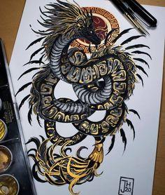 Dark Art Drawings, Animal Drawings, Cool Drawings, Tattoo Drawings, Bild Tattoos, Body Art Tattoos, Sleeve Tattoos, Tatoos, Tatuagem Game Of Thrones