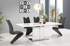 FIRENZE+H090 SIGNAL Dining room furniture set. Elements of the collection available in the white / black colour. Elegant upholstered chair with extended backrest for comfortable seating. Polish Signal Modern Furniture Store in London, United Kingdom #furniture #polish #signal #diningroom