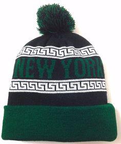 NEW YORK POM BEANIE Jets-Colors Black/Green/White Winter Knit Ski Hat Men/Women #KBTrading #Beanie