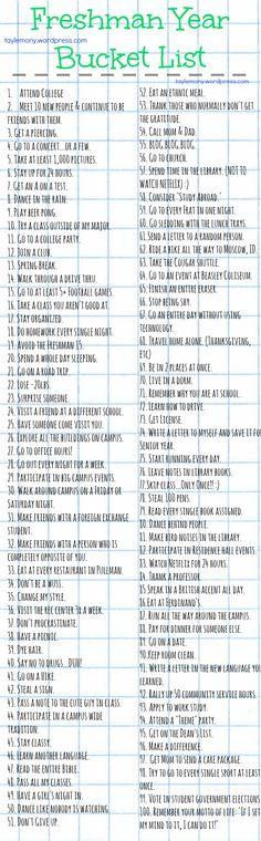 Freshman Year Bucket List- gotta make one of my own: Maybe College Bucket List College Checklist, College Essentials, College Hacks, Dorm Room Checklist, College Packing Lists, College Necessities, College Years, Freshman Year, College Life
