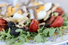 Salad - tomato, egg, olive, anchois, Caprese Salad, I Foods, Food Photography, Eggs, Egg, Egg As Food, Insalata Caprese