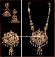 One of a kind grand nallapusalu design in heavy nakshi work. Intricately engraved Elephant and peacock design with nakshi balls is breathtaking. Pair them with nakshi gold jhumkas. Gold Temple Jewellery, Gold Jewellery Design, Bead Jewellery, Beaded Jewelry, Gold Jewelry, Designer Jewellery, Oxidised Jewellery, Gold Necklaces, Latest Jewellery