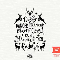 Reindeer Names Christmas SVG Decal Cutting File Merry Christmas Reindeer Transfer for Cricut Explore, Silhouette Cameo, Cutting Machines by SVGfarm on Etsy https://www.etsy.com/listing/484582465/reindeer-names-christmas-svg-decal