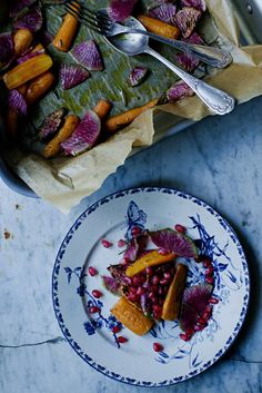 Roasted pink radishes & carrots with balsamic vinegar & rosemary