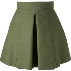 Alexander McQueen box pleat shorts (€2.170) ❤ liked on Polyvore featuring shorts, green, high-rise shorts, green high waisted shorts, high-waisted shorts, cotton shorts and alexander mcqueen
