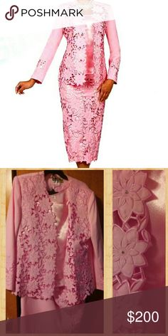 🌸EXQUISITE BEN MARC SUIT WITH FLOWER LACE Words cannot describe the beauty of this suit it is baby pink large flower lace with rhinestone the detail is amazing absolutely stunning three piece suit I also have the shoes to match in my closet worn once for a wedding and excellent like new condition fits 18-20 Ben Marc Skirts Skirt Sets