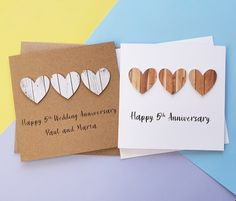 5th anniversary card Wood wedding anniversary card Handmade | Etsy 5th Wedding Anniversary, Happy Anniversary, Valentine Day Cards, Valentines, Romantic Cards, Hand Logo, Wedding In The Woods, Heart Cards, Sell On Etsy