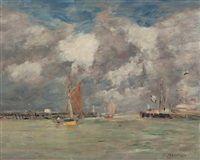 Eugène Boudin -  Trouville, les jetées, marée haute
