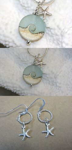 Necklaces and Pendants 110655: Ocean Wave Sea Glass Look Necklace And Sterling Silver Starfish Charm 18 Chain -> BUY IT NOW ONLY: $34 on eBay!