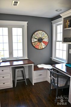 Office Nook - Once was an oversized first floor bathroom, now is an office! - Sisters to Sons
