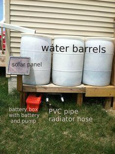 How to make Solar Powered Water Pump for Water Barrels - SHTF, Emergency Preparedness, Survival Prepping, Homesteading Homestead Survival, Survival Prepping, Emergency Preparedness, Survival Skills, Emergency Preparation, Survival Mode, Survival Stuff, Survival Equipment, Solar Panel Battery