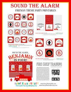 Fireman Birthday Party Printables Sound the by FancyThatStudio, $22.50