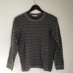 """Madewell Heartstripe Sweater """"A play on the traditional bird's-eye pattern—alternating stripes and can-you-spot-them lines of hearts—aligned with a just-right fit. One you'll reach for again and again. True to size. Wool. Dry clean."""" // Gently worn. Lightweight. Great condition. Just dry cleaned. Madewell Sweaters Crew & Scoop Necks"""