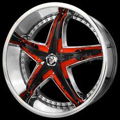 Diablo Wheels Rims Reflection X 20 22 24 inch Chrome Custom Red Insert Rims For Cars, Rims And Tires, Hot Cars, 22 Rims, Wheel Warehouse, Chevy Hhr, Wheel Logo, Aftermarket Wheels, Car Gadgets