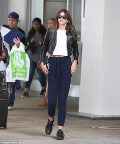 Gorgeous girl: Kaia Gerber, 15, showed Cindy Crawford's model looks runs in the family when the supermodel's daughter arrived at the airport in Toronto on Saturday