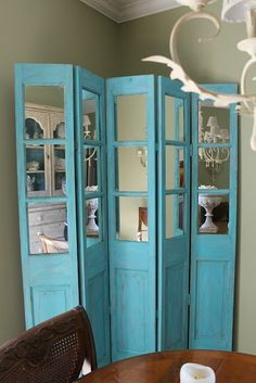 A Homemade Chalk Recipe To Try A Homemade Chalk Recipe To Try Melissa Paravent A dark color mirrored screen in my dining room seemed to be nbsp hellip Divider screen repurpose Diy Room Divider, Room Divider Screen, Room Dividers, Room Screen, Diy Rangement, Old Doors, Wooden Diy, Home Projects, Diy Furniture