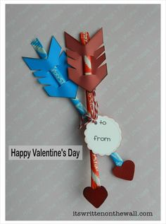 (Free Printables) Valentine's Day Treat-Cupid's Arrow / Pixie Sticks-Easy to Make! It's Written on the Wall:
