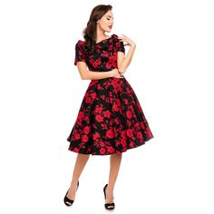 Darlene Retro Floral Swing Dress in Black/Red