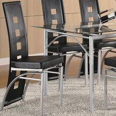 Los Feliz Black Vinyl and Metal Dining Side Chair by Coaster 101682- Set of 2