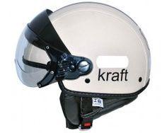 Capacete Custom Plus Couro Branco Kraft - Joker Motorcycles