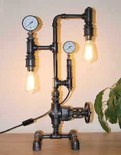 Steampunk Pipe Lamp Wih Large Valve 02 by GalleryLukaArt on Etsy