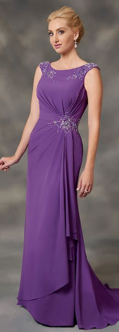 Nifty Chiffon Bateau Neckline Floor-length Sheath/Column Mother Of Bride Dresses With Beadings