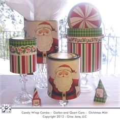 Christmas Gift - Printables for Metal Paint Cans - Altered Tins - Gallon and Quart Size Cans. Christmas Crafts For Gifts, Craft Gifts, Christmas Fun, Holiday Gifts, Christmas Decorations, Tin Can Crafts, Diy Crafts For Kids, Paper Crafts, Painted Tin Cans