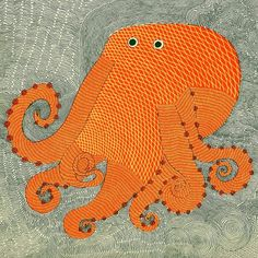 This distinctive octopus illustration was created by Rambharos Jha for a book called 'Waterlife', published by Tara Books in India. More information on the publication can be found on BibliOdyssey. Kraken, Octopus Illustration, Animal Illustrations, Gond Painting, Graffiti Artwork, Octopus Art, Art For Kids, Folk Art, Artsy