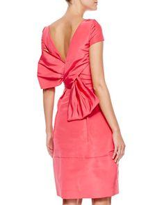 Oscar de la Renta Bow-Back Short-Sleeve Cocktail Dress, Amaranth - Neiman Marcus