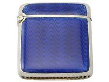 Plata Esterlina Y Azul Guilloche Esmalte Vesta Case-Antiguo Circa 1910