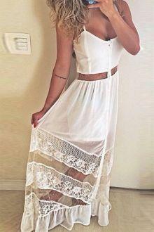 White Lace Spliced Spaghetti Strap Maxi Dress