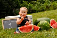 Watermelon Photo Shoot. Baby Watermelon photos. First birthday photo shoot. Kids photography. Baby photo shoot. First year session. Not So Perfect Parties.