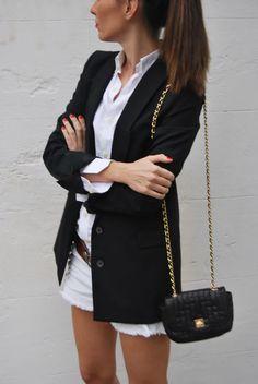 light shorts + dark blazer