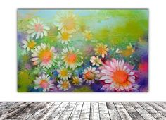 Buy DAISIES STREAM - Floral Abstract - 55x34.5x2 cm, Modern Ready to Hang Painting - Flower Acrylics Painting, Acrylic painting by Soos Roxana Gabriela on Artfinder. Discover thousands of other original paintings, prints, sculptures and photography from independent artists.