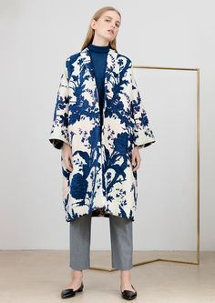 Oversize coat out of cotton and viscose, with blue-beige jacquard floral pattern & in Oversized Coat, Your Photos, Kimono Top, Beige, Switzerland, Floral, Pattern, Cotton, Collection