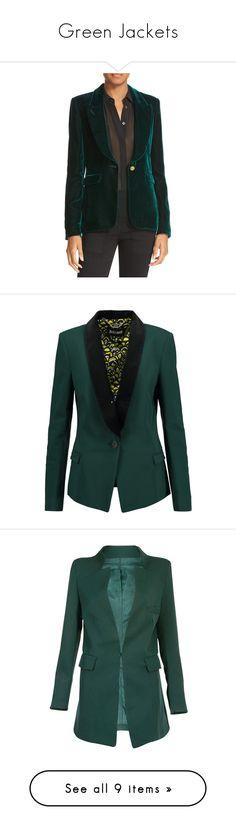 """Green Jackets"" by kikikoji ❤ liked on Polyvore featuring outerwear, jackets, blazers, emerald, tailored jacket, smythe jackets, blazer jacket, button jacket, peaked lapel blazer and lapel jacket"