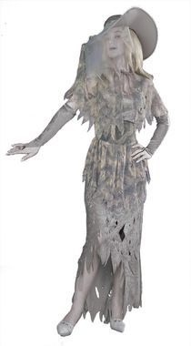 Let her spirit move you! Ghostly grey toned tattered gown, capelet, glovettes, hat, and belt. Simply add your own dead grey makeup for one scary looking ghost. One size fits most women sizes 6-14.