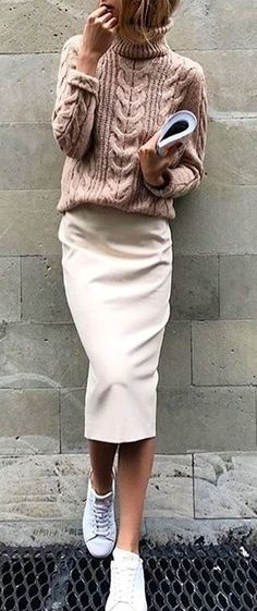 Brown sweater and white skirt. #Spring #Outfits