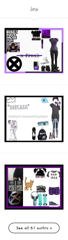 """""""Jinx"""" by thin-mint on Polyvore featuring Dr. Martens, Majesty Black, Butter London, Marvel Comics, Iron Fist, Converse, Enjoi, Lazy Oaf, Vans and Proenza Schouler"""
