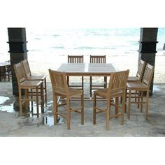 """Windsor 9 Piece Bar Height Dining Set by Anderson Collections. $4515.00. Set-121 Features: -Set includes bar table and eight Avalon bar chairs. -Windsor collection. -Made with kiln-dried, grade A teak wood. -Fold and carry. -Assembly required. Specifications -Bar table dimensions: 42"""" H x 59"""" W x 59"""" D. -Bar chairs dimensions: 48"""" H x 19"""" W x 19"""" D."""