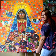 Painel Nossa Senhora Aparecida , artista plástica Andreza Katsani. Arte Naif Painting, Religious Art, Dashboards, Artists, Painting Art, Paintings, Painted Canvas, Drawings