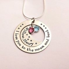 I love you to the moon and back hand stamped personalised necklace (V2) £25.00