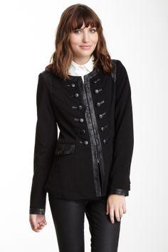 Monoreno Faux Leather Trim Military Jacket