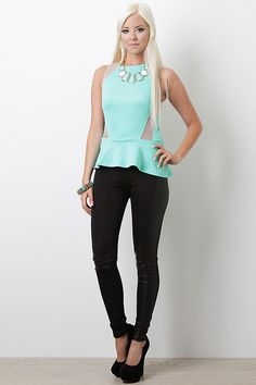 mint peplum,black