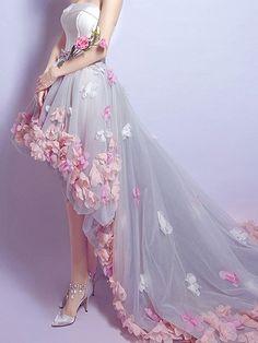 Gray Bandeau Petal Applique Hi-lo Chapel Train Prom Dress