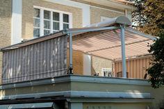 Pergola  med elektrisk drevet duk. Den er perfekt til å beskytte en terrase eller en restauranthage. Motstand mot vindlaster av klasse 3., dvs. den høyeste, sikrer komfort og trygghet